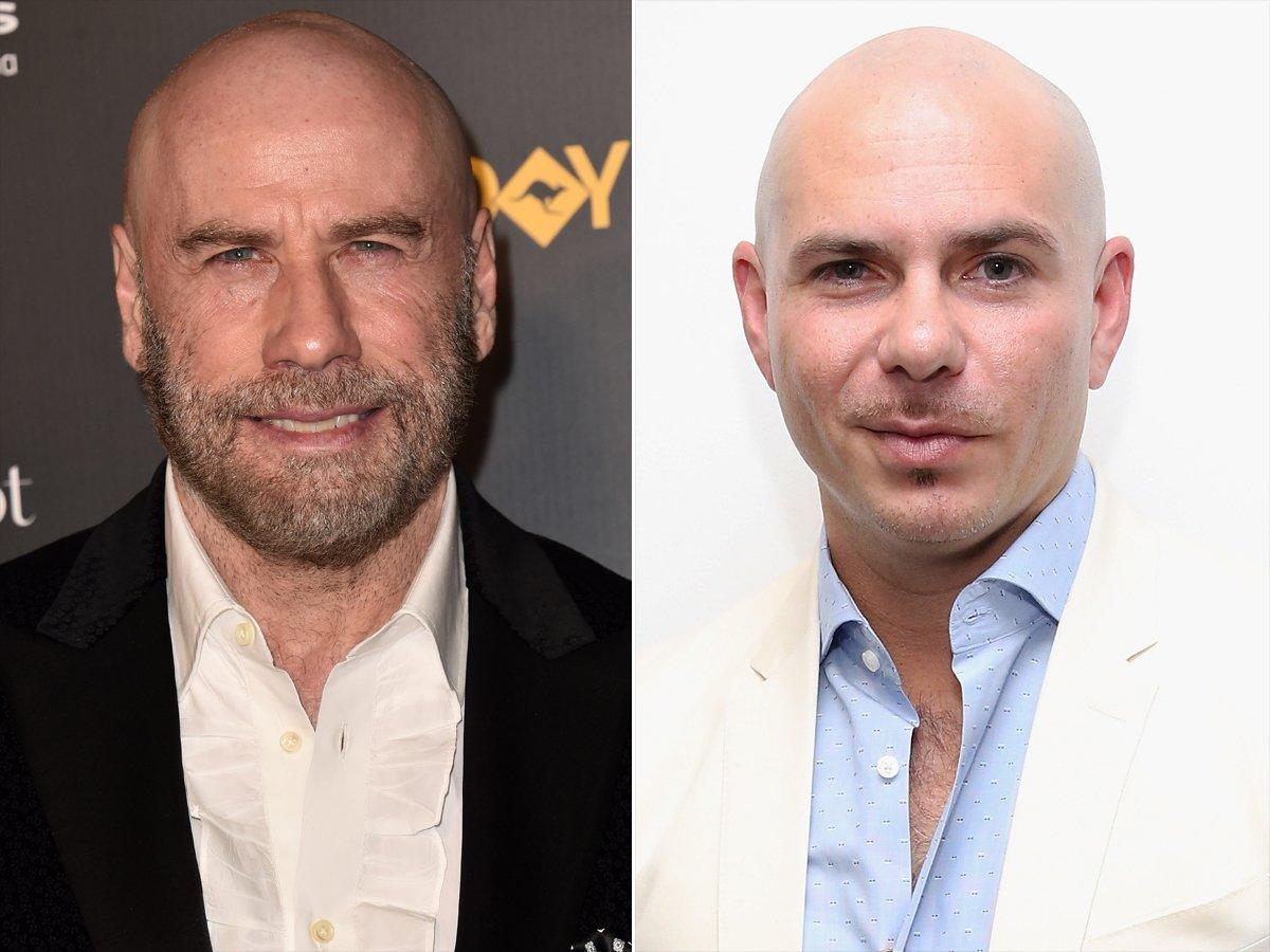 """Bet you didn't see this one coming. After Travolta decided to embrace a new, bald look in early 2019, he revealed his source of inspiration.  """"A good friend, Armando Perez, Pitbull — he lives his life like this, he would send pictures of me, I have all my hair, and he'd superimpose no hair and say, 'I prefer this,' so I thought… Maybe it's time to do it,""""<a href=""""https://people.com/movies/john-travolta-says-good-friend-rapper-pitbull-inspired-new-bald-look/"""">the actor told<em>Extra.</em></a>"""