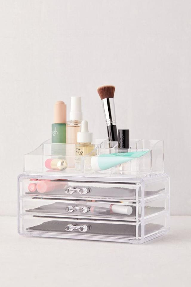 """<p>We all know someone who could use this <a href=""""https://www.popsugar.com/buy/Acrylic-Drawer-Makeup-Organizer-558815?p_name=Acrylic%20Drawer%20Makeup%20Organizer&retailer=urbanoutfitters.com&pid=558815&price=29&evar1=casa%3Aus&evar9=47326714&evar98=https%3A%2F%2Fwww.popsugar.com%2Fhome%2Fphoto-gallery%2F47326714%2Fimage%2F47328043%2FAcrylic-Drawer-Makeup-Organizer&list1=shopping%2Curban%20outfitters%2Corganization%2Cbathrooms%2Chome%20organization%2Chome%20shopping&prop13=api&pdata=1"""" rel=""""nofollow"""" data-shoppable-link=""""1"""" target=""""_blank"""" class=""""ga-track"""" data-ga-category=""""Related"""" data-ga-label=""""https://www.urbanoutfitters.com/shop/acrylic-drawer-makeup-organizer?category=SEARCHRESULTS&amp;color=100&amp;searchparams=q%3Dbathroom%2520organizer&amp;type=REGULAR&amp;size=ONE%20SIZE&amp;quantity=1"""" data-ga-action=""""In-Line Links"""">Acrylic Drawer Makeup Organizer</a> ($29).</p>"""