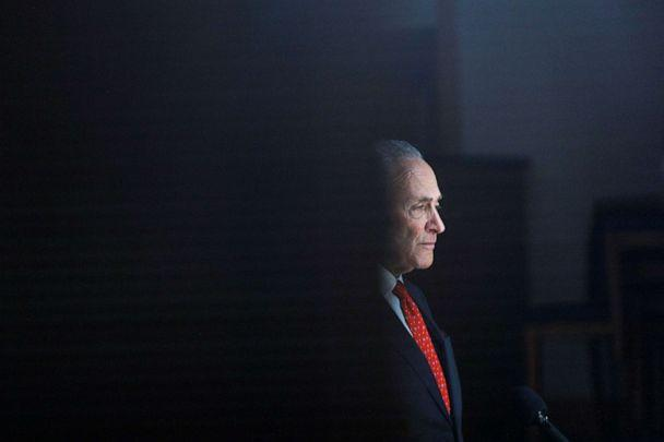 PHOTO: Senate Minority Leader Chuck Schumer delivers remarks during a private interview on Capitol Hill in Washington, March 25, 2020. (Tom Brenner/Reuters)