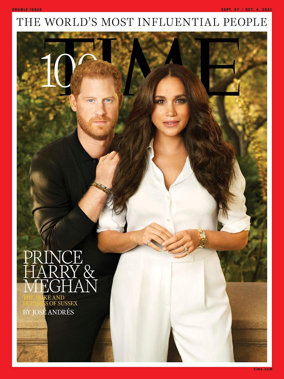 The portrait marks the first time the couple has formally posed for a magazine shoot cover together - TIME 100