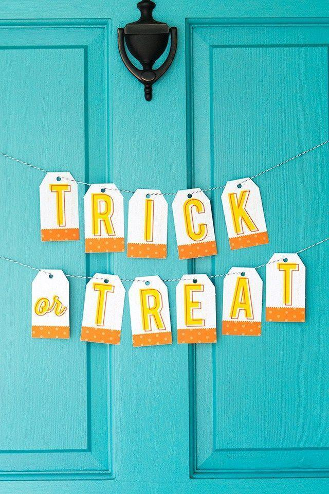 """<p>A free printable makes it super simple to create this garland. It's inexpensive, welcoming, and perfect for a last-minute decorating spree.</p><p><strong>Get the tutorial at <a href=""""https://sarahhearts.com/avery-halloween/"""" rel=""""nofollow noopener"""" target=""""_blank"""" data-ylk=""""slk:Sarah Hearts"""" class=""""link rapid-noclick-resp"""">Sarah Hearts</a>.</strong></p><p><strong><a class=""""link rapid-noclick-resp"""" href=""""https://go.redirectingat.com?id=74968X1596630&url=https%3A%2F%2Fwww.walmart.com%2Fip%2FWrapables-50-Gift-Tags-Kraft-Hang-Tags-with-Free-Cut-Strings-for-Gifts-Crafts-Price-Tags-White-Original-Tag%2F102735054&sref=https%3A%2F%2Fwww.thepioneerwoman.com%2Fholidays-celebrations%2Fg32894423%2Foutdoor-halloween-decorations%2F"""" rel=""""nofollow noopener"""" target=""""_blank"""" data-ylk=""""slk:SHOP GIFT TAGS"""">SHOP GIFT TAGS</a></strong></p>"""