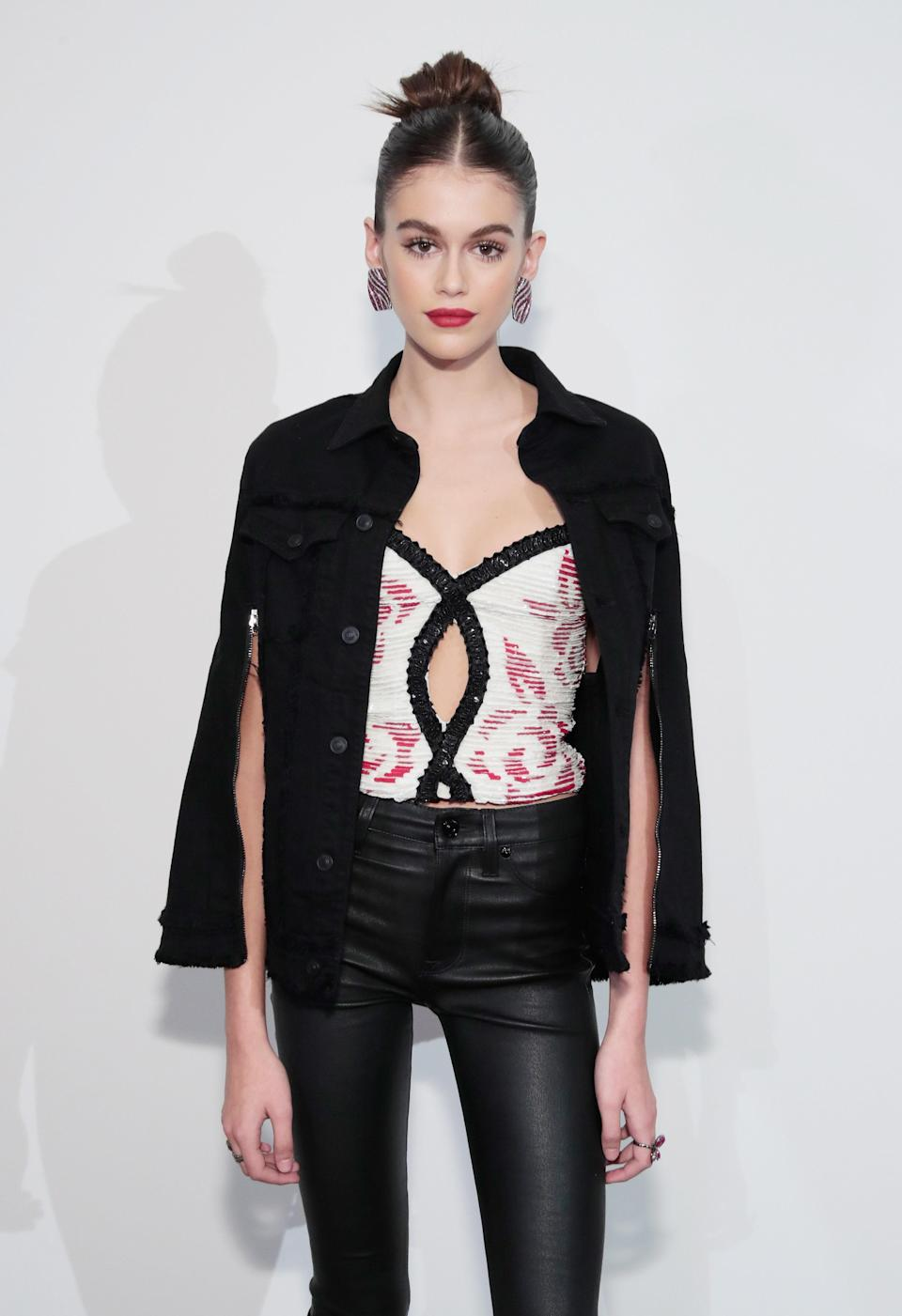 The outfit she wore to host the Hudson Jean SS18 preview is one of her most unique to date.