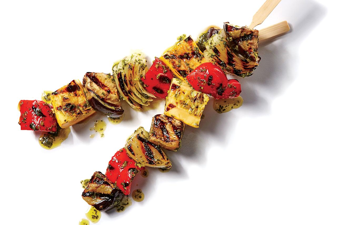 "<p><b>Recipe: <a href=""https://www.southernliving.com/recipes/grilled-ratatouille-skewers-recipe"">Grilled Ratatouille Skewers</a></b></p> <p>These <a href=""https://www.southernliving.com/food/holidays-occasions/easy-grilled-kabobs-recipe"">grilled skewers</a> are a fun way to get your veggies at the summer cookout.</p>"