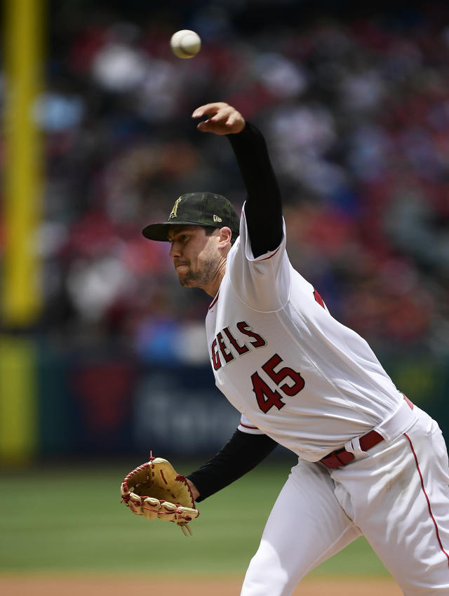 Los Angeles Angels starting pitcher Tyler Skaggs throws to the plate during the first inning of a baseball game against the Kansas City Royals Sunday, May 19, 2019, in Anaheim, Calif. (AP Photo/Mark J. Terrill)