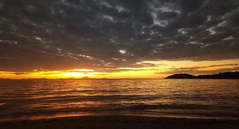 The group enjoyed this sunset while stranded on Gloucester Island, Queensland