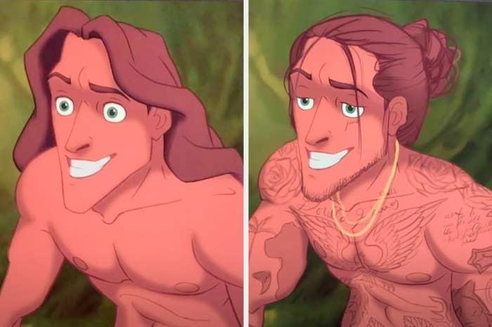 The classic Tarzan side by side with Lexis' Tarzan, who has tattoos all over his body, a gold chain, and a man bun