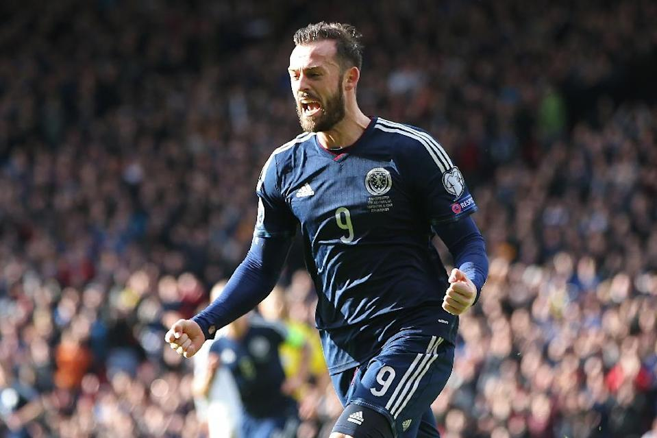 Scotland striker Steven Fletcher celebrates after scoring during the Euro 2016 qualifying match against Gibraltar at Hampden Park in Glasgow on March 29, 2015 (AFP Photo/Ian Macnicol)
