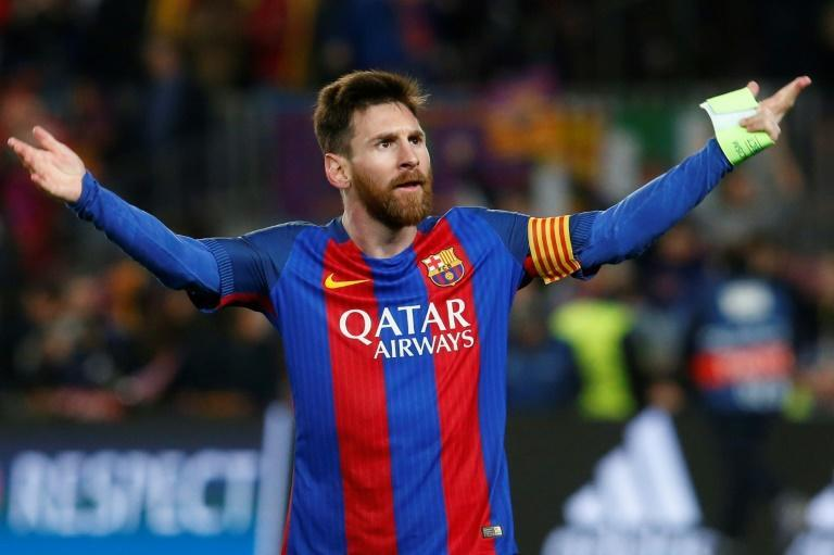 Are you not entertained? Lionel Messi celebrates at the end of the Champions League round of 16 second leg tie against PSG in 2017