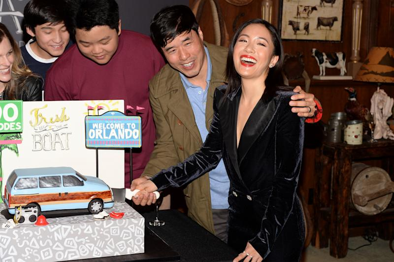 LOS ANGELES, CALIFORNIA - FEBRUARY 27: (L-R) Forrest Wheeler, Hudson Yang, Randall Park and Constance Wu attend the 'Fresh Off The Boat' 100th episode ABC celebration at Fox Studios on February 27, 2019 in Los Angeles, California. (Photo by Andrew Toth/Getty Images)