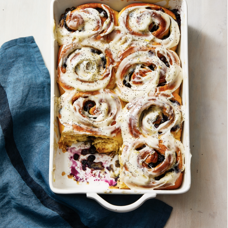"""<p>Unlike classic cinnamon rolls, this sticky-sweet version relies on a blueberry-cinnamon filling and lemon cream cheese icing for flavor. </p><p><em><a href=""""https://www.goodhousekeeping.com/food-recipes/a32223744/blueberry-sweet-rolls-with-lemon-recipe/"""" rel=""""nofollow noopener"""" target=""""_blank"""" data-ylk=""""slk:Get the recipe for Blueberry Sweet Rolls With Lemon »"""" class=""""link rapid-noclick-resp"""">Get the recipe for Blueberry Sweet Rolls With Lemon »</a></em></p>"""