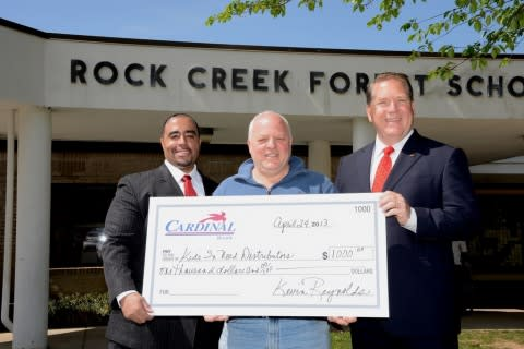 (L-R): Cardinal Bank Vice President and Bethesda Banking Office Manager Ron Harriday; Kids In Need D ...