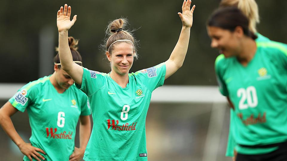 Matildas star Elise Kellond-Knight is seen here during an Australian training session.