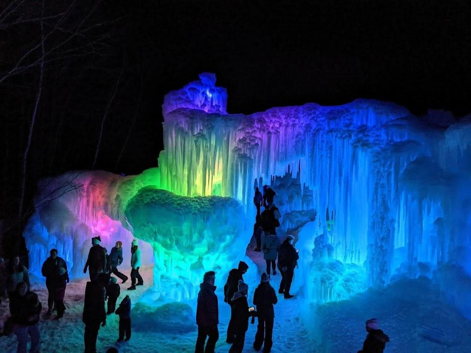 "Every year, a frozen fairy tale comes to life at <a href=""https://icecastles.com/new-hampshire"" rel=""nofollow noopener"" target=""_blank"" data-ylk=""slk:Ice Castles"" class=""link rapid-noclick-resp"">Ice Castles</a> in Lincoln, New Hampshire, as professional ice artists configure hundreds of thousands of icicles into extravagant castle-like formations. Kids love exploring this frozen world of ice-carved tunnels, crawl spaces, and mazes; ogling colorful, illuminated ice sculptures; and ambling along a quarter-mile long winter light walk through the forest."