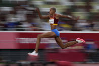 Yulimar Rojas, of Venezuela, competes in the final of the women's triple jump at the 2020 Summer Olympics, Sunday, Aug. 1, 2021, in Tokyo. (AP Photo/David J. Phillip)