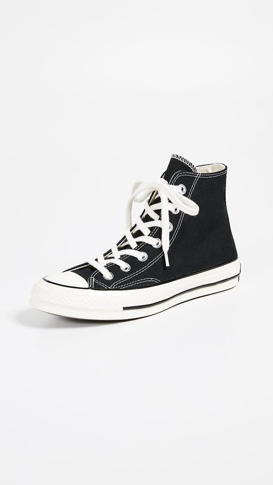 <p>Can't beat <span>Converse All Star '70s High Top Sneakers</span> ($85) in good 'ol black.</p>