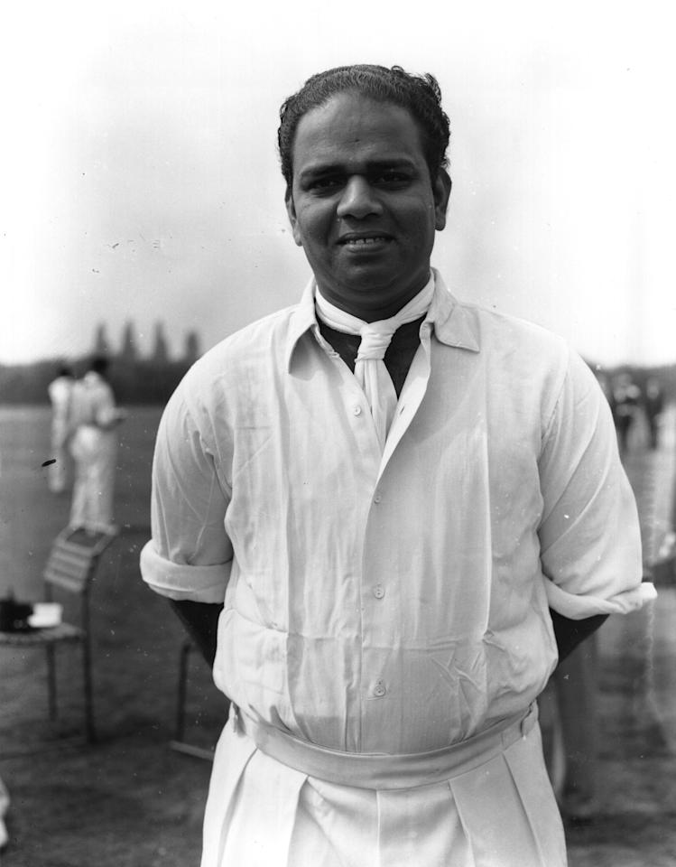 1959:  Indian cricketer, Vijay Laxman Manjrekar (1931 - 1983)  (Photo by Central Press/Getty Images)