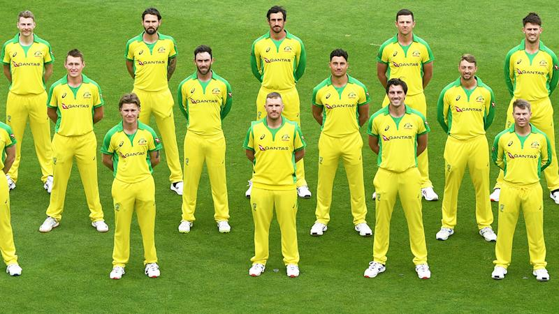 Australian players, pictured here posing for a team photo ahead of their T20 series against England.