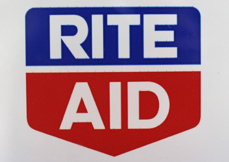 A Rite Aid logo is seen outside one of their stores in New York