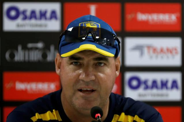 FILE PHOTO: Sri Lanka's cricket coach Arthur speaks during a news conference at National Stadium, Karachi