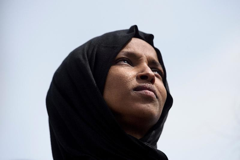 US Representative Ilhan Omar -- who is Muslim and the first US national lawmaker to wear a headscarf -- is among three legislators who were left death threats (AFP Photo/Brendan Smialowski)
