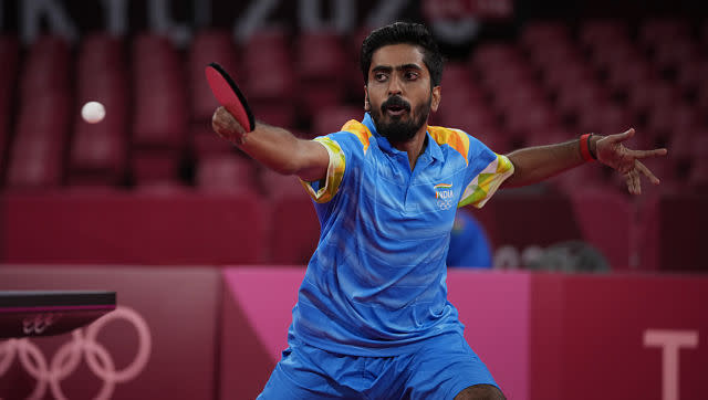 Heartbreak for Sathiyan Gnanasekaran as he was ousted in the first round of the men's singles table tennis match. AP