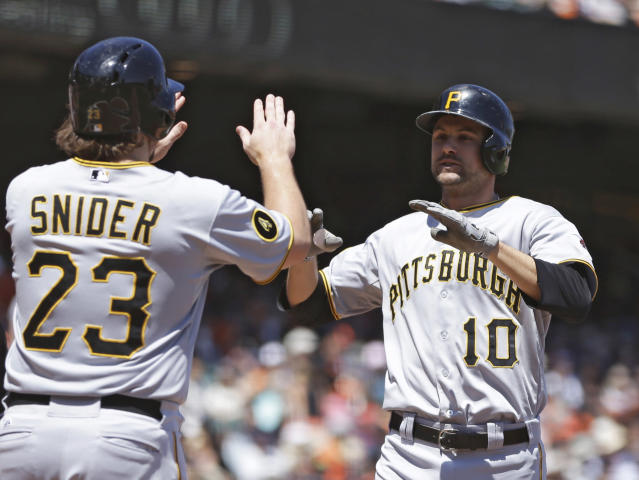 Pittsburgh Pirates' Jordy Mercer right, and and Travis Snider (23) celebrate Mercer's two run home run hit off San Francisco Giants' Tim Lincecum in the fifth inning of a baseball game Wednesday, July 30, 2014, in San Francisco. (AP Photo/Ben Margot)