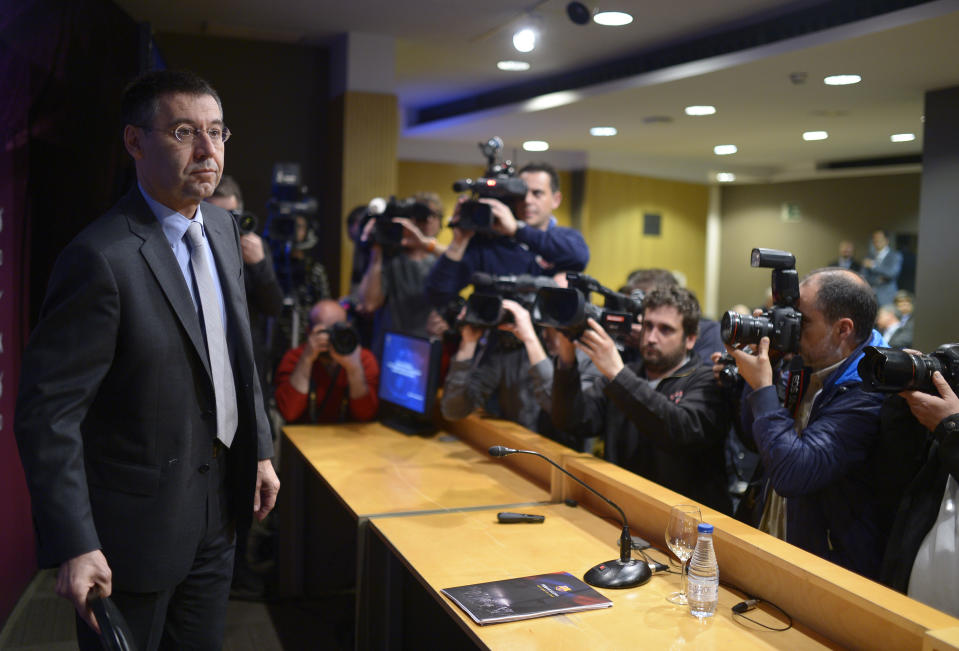 Former FC Barcelona president Josep Maria Bartomeu oversaw a tumultuous few years at the Spanish soccer club. (AP Photo/Manu Fernandez)