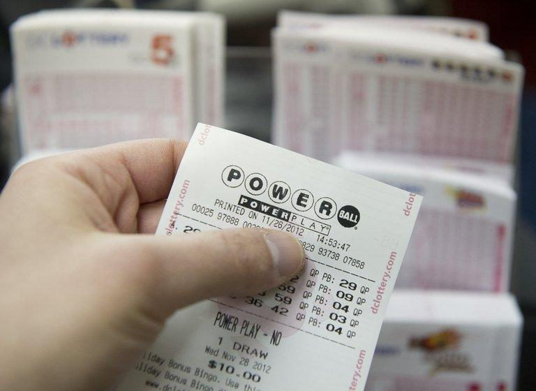 A Powerball lottery ticket is seen in a convenience store in Washington