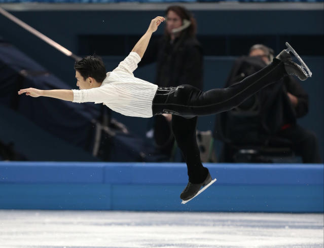 Denis Ten of Kazakhstan competes in the men's free skate figure skating final at the Iceberg Skating Palace during the 2014 Winter Olympics, Friday, Feb. 14, 2014, in Sochi, Russia. (AP Photo/Ivan Sekretarev)