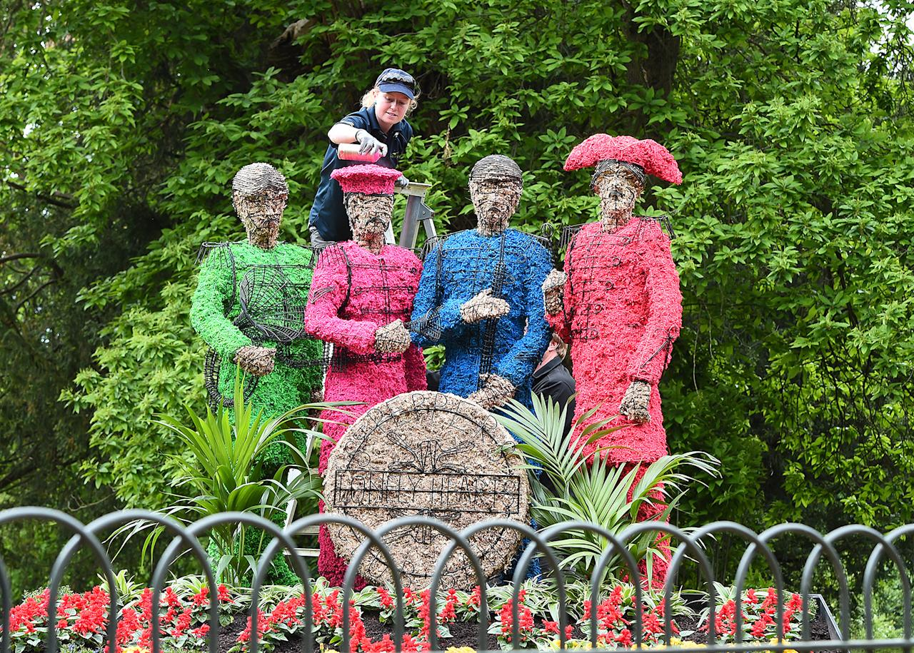 <p>Celebrating 50 years since The Beatles released Sgt Pepper's Lonely Hearts Club, a living installation will recreate the artwork from the infamous cover at Chiswick House And Gardens on May 19, 2017 in London, England. (Photo: Eamonn M. McCormack/Getty Images) </p>
