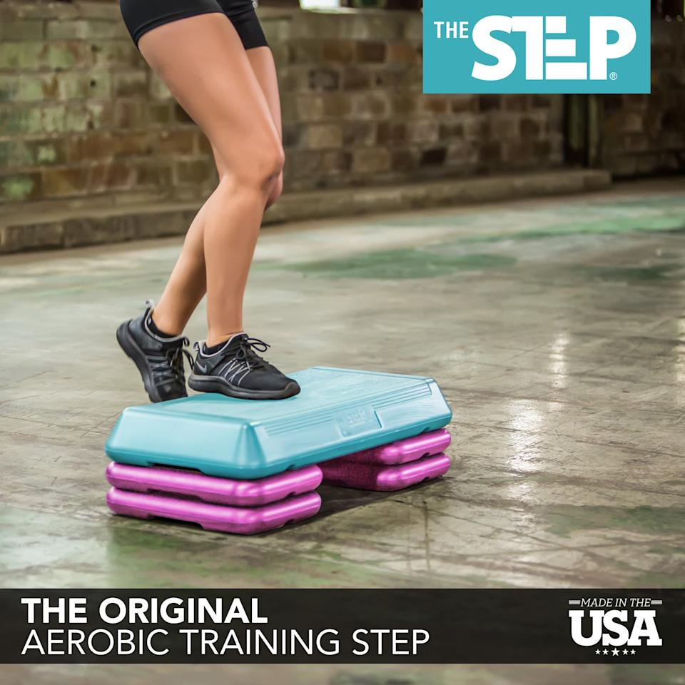 """<p>With several different pieces, you can build up this <a href=""""https://www.popsugar.com/buy/Step-Original-Circuit-Size-Aerobic-Platform-409364?p_name=The%20Step%20Original%20Circuit%20Size%20Aerobic%20Platform&retailer=walmart.com&pid=409364&price=43&evar1=fit%3Aus&evar9=45734121&evar98=https%3A%2F%2Fwww.popsugar.com%2Fphoto-gallery%2F45734121%2Fimage%2F45734347%2FStep-Original-Circuit-Size-Aerobic-Platform&list1=shopping%2Cwalmart%2Cfitness%20gear%2Cfitness%20shopping&prop13=api&pdata=1"""" rel=""""nofollow"""" data-shoppable-link=""""1"""" target=""""_blank"""" class=""""ga-track"""" data-ga-category=""""Related"""" data-ga-label=""""https://www.walmart.com/ip/The-Step-Original-Circuit-Size-Aerobic-Platform-with-Grey-Nonslip-Platform-and-Four-Original-Black-Risers/2590791"""" data-ga-action=""""In-Line Links"""">The Step Original Circuit Size Aerobic Platform </a> ($43, originally $60) to your preferred height.</p>"""