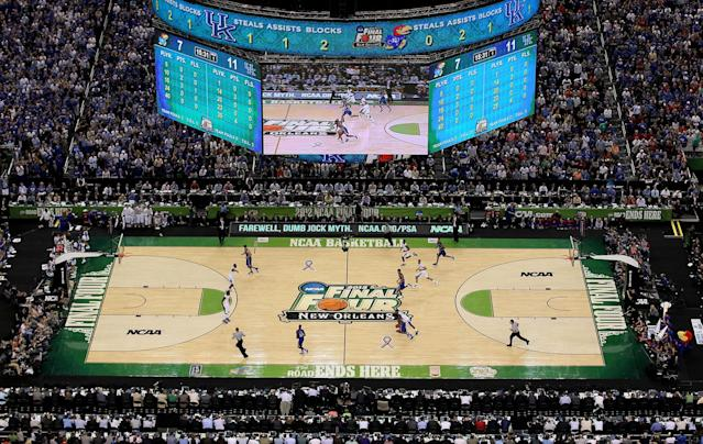 A general view as the Kentucky Wildcats take on the Kansas Jayhawks in the National Championship Game of the 2012 NCAA Division I Men's Basketball Tournament at the Mercedes-Benz Superdome on April 2, 2012 in New Orleans, Louisiana. (Photo by Chris Graythen/Getty Images)