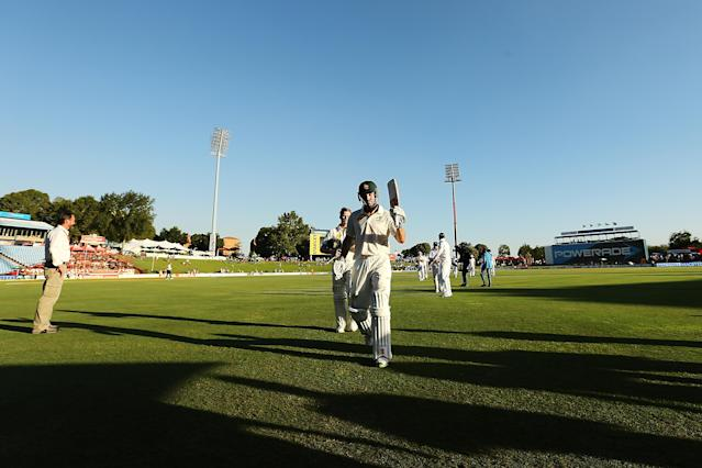 CENTURION, SOUTH AFRICA - FEBRUARY 12: Steven Smith and Shaun Marsh of Australia leave the field at the end of play during day one of the First Test match between South Africa and Australia on February 12, 2014 in Centurion, South Africa. (Photo by Morne de Klerk/Getty Images)