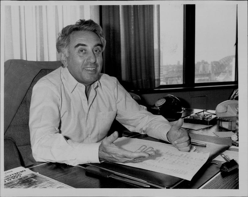 Harry Triguboff of Meriton in his Bligh St office in the city. September 12, 1984. (Photo by Ross Anthony Willis/Fairfax Media via Getty Images).