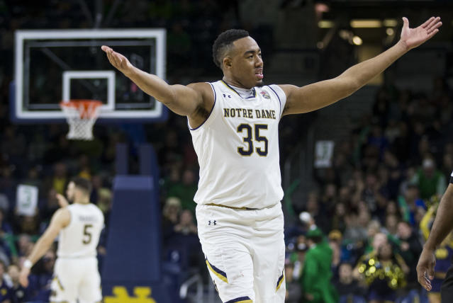 "Notre Dame's <a class=""link rapid-noclick-resp"" href=""/ncaab/players/126186/"" data-ylk=""slk:Bonzie Colson"">Bonzie Colson</a> (35) celebrates after his team went on a big run during the second half of an NCAA college basketball game against Georgia Tech, Saturday, Dec. 30, 2017, in South Bend, Ind. (AP Photo/Robert Franklin)"