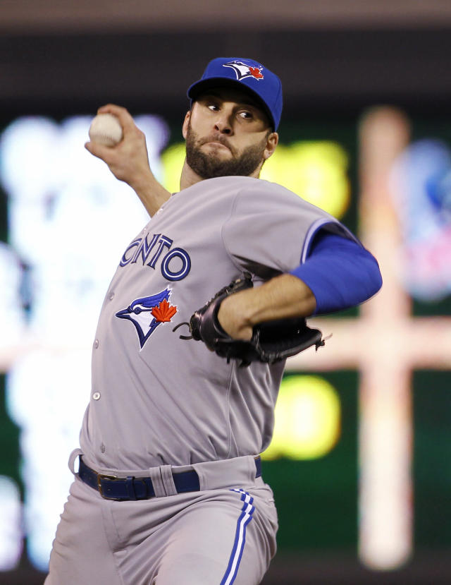 Toronto Blue Jays starting pitcher Brandon Morrow delivers to the Minnesota Twins during the third inning of a baseball game in Minneapolis, Tuesday, April 15, 2014. (AP Photo/Ann Heisenfelt)