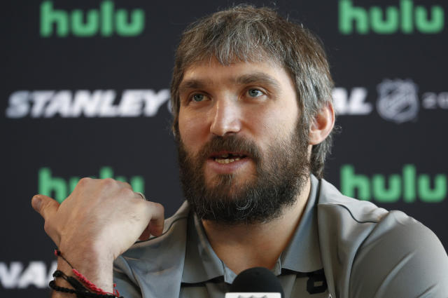 FILE - In this May 27, 2018, file photo, Washington Capitals left wing Alex Ovechkin speaks during an NHL hockey media day in Las Vegas. Capitals captain Alex Ovechkin will go to China as part of the NHLs continued outreach in that country. Ovechkin will visit Beijing in early August as a league ambassador. Hes expected to take part in youth hockey clinics, interviews and business development meetings. (AP Photo/John Locher, FIle)