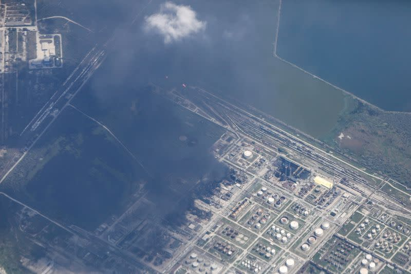 View of rude oil refinery Petromidia following a blast and fire