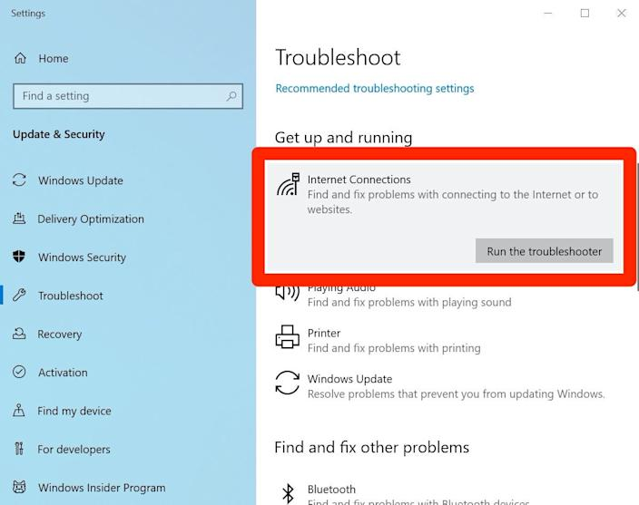 "Use a Windows troubleshooter to resolve a Wi-Fi problem. <p class=""copyright"">Dave Johnson/Business Insider</p>"