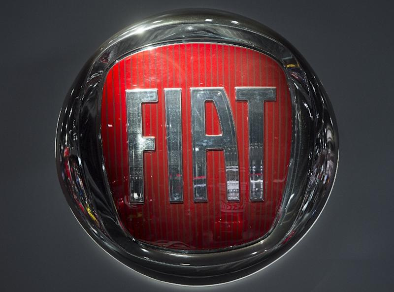 This file photo shows the Fiat logo during the 2017 North American International Auto Show in Detroit