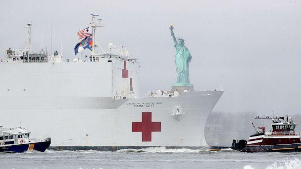 PHOTO: The USNS Comfort passes the Statue of Liberty as it enters New York Harbor during the outbreak of the coronavirus disease in New York, March 30, 2020. (Brendan Mcdermid/Reuters)