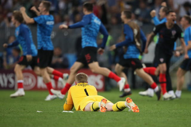 <p>A dejected Jordan Pickford of England as Croatia reach the World Cup final with a 2-1 victory in extra time during the 2018 FIFA World Cup Russia Semi Final match between England and Croatia at Luzhniki Stadium on July 11, 2018 in Moscow, Russia. (Photo by Matthew Ashton – AMA/Getty Images) </p>