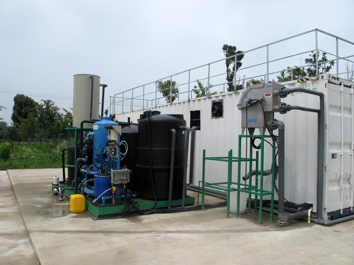 Water purification equipment by Emefcy is seen at a school campus in Changzhou