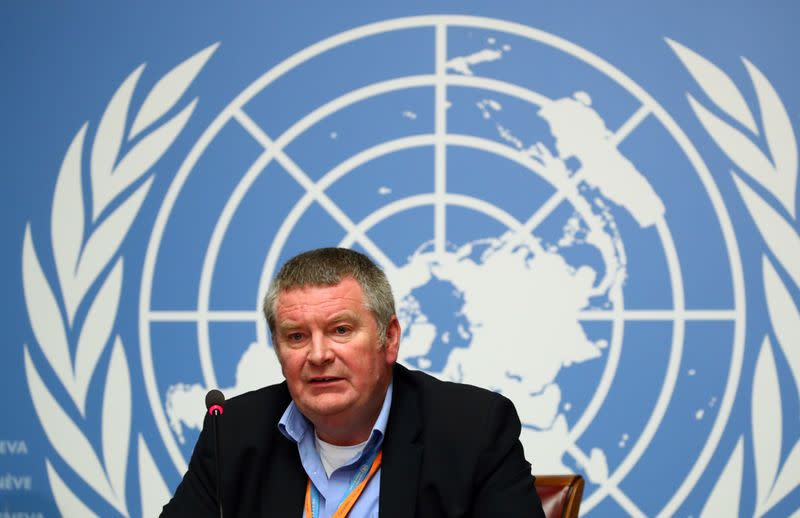 Ryan, Executive Director of the WHO attends a news conference on the Ebola outbreak at the United Nations in Geneva