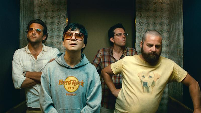 "In this publicity image released by Warner Bros., from left, from left, Bradley Cooper, Ken Jeong, Ed Helms and Zach Galifianakis are shown in a scene from ""The Hangover Part II."" (AP Photo/Warner Bros. Pictures)"