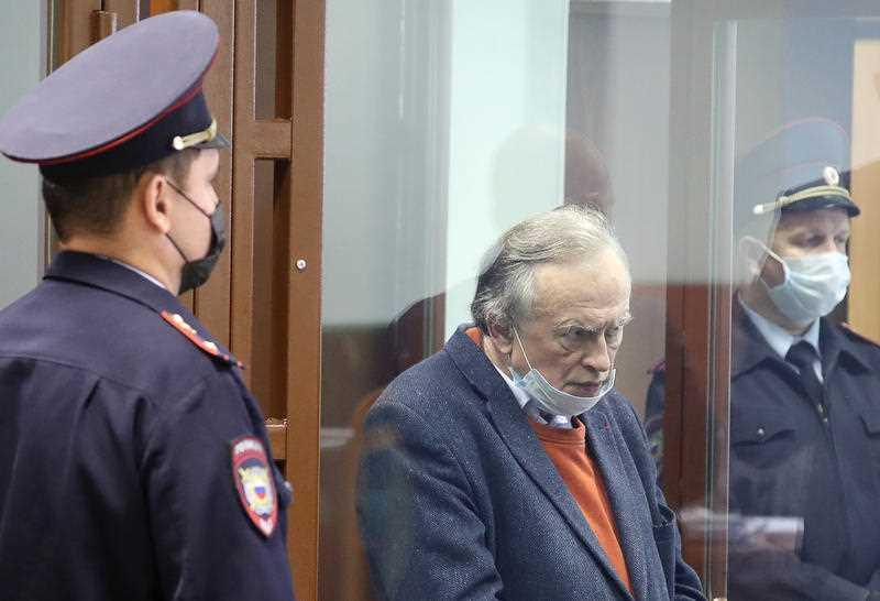 Oleg Sokolov, former St Petersburg State University history professor, attends an offsite Oktyabrsky District Court session at the St Petersburg City Court on charges of murdering his postgraduate student, 24-year-old Anastasia Yeshchenko.