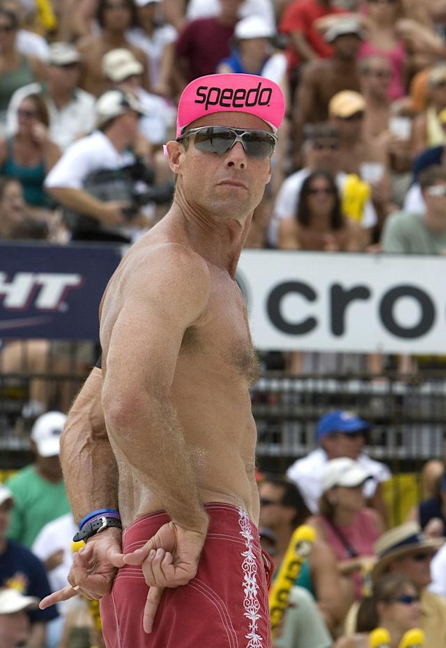 TAMPA - JUNE 3: Karch Kiraly signals his partner during the men's finals against Jake Gibb and Sean Rosenthal in the AVP esurance Tampa Open on June 3, 2007 in Tampa, Florida. Gibb/Rosenthal won against Kiraly/Wong in two games, 21-18, 21-17. (Photo by Holly Stein/AVP via Getty Images)