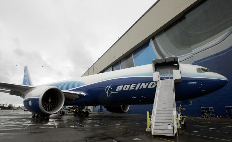 The first Boeing 777 freighter is displayed outside a hangar prior to its debut ceremony at the company's factory in Everett