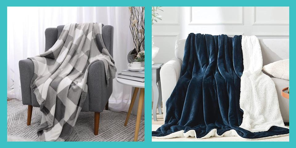 """<p>A movie night wouldn't be the same without a soft, fleece blanket to snuggle up under. But with so many options available, it can feel overwhelming to find the best one for your needs—and price point. From travel-sized, baby-sized, and wearable fleece blankets, to <a href=""""https://www.prevention.com/health/mental-health/a21526329/weighted-blanket-anxiety-insomnia/"""" rel=""""nofollow noopener"""" target=""""_blank"""" data-ylk=""""slk:weighted"""" class=""""link rapid-noclick-resp"""">weighted</a>, <a href=""""https://www.prevention.com/health/sleep-energy/g32174603/best-cooling-weighted-blankets/"""" rel=""""nofollow noopener"""" target=""""_blank"""" data-ylk=""""slk:cooling"""" class=""""link rapid-noclick-resp"""">cooling</a>, and <a href=""""https://www.prevention.com/life/g30153870/heated-blankets/"""" rel=""""nofollow noopener"""" target=""""_blank"""" data-ylk=""""slk:heated"""" class=""""link rapid-noclick-resp"""">heated</a> ones, we've got you covered with the warmest, coziest, and best options on the market. </p><p>By <a href=""""https://www.merriam-webster.com/dictionary/fleece"""" rel=""""nofollow noopener"""" target=""""_blank"""" data-ylk=""""slk:definition"""" class=""""link rapid-noclick-resp"""">definition</a>, fleece is the coat of wool on an animal (usually in reference to a sheep). But the fleece that you often see in sweaters, jackets, and <a href=""""https://www.prevention.com/health/sleep-energy/a34221613/best-amazon-prime-day-weighted-blanket-deals-2020/"""" rel=""""nofollow noopener"""" target=""""_blank"""" data-ylk=""""slk:blankets"""" class=""""link rapid-noclick-resp"""">blankets</a> you love and wear during the wintertime actually has nothing to do with wool at all. In fact, it's an entirely synthetic material made to mimic the warm and cozy feeling we get from animal-derived wool. Fleece is a man-made material created from tight-knit polyester fibers, resembling terry cloth. It's incredibly soft, fuzzy, light, and breathable. The fabric is often used in outwear because it <a href=""""https://www.nytimes.com/2011/11/27/magazine/fleece-scratchy-to-snuggie.html"""" rel=""""nofollow noo"""