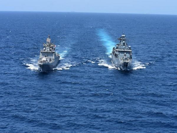 Visual of the naval exercise shared by Indian Navy in Gulf of Aden (Photo/ANI)